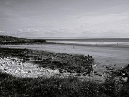 B and W View Overlooking Rest Bay Beach May 2012 by welshrocker