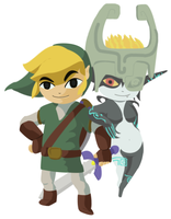 Link and Midna, Toon Shaded by Aleitheo