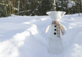 Frosty the little snow rag-cat by kittyvane