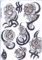 tribal roses tattoo flash by inkie-girl