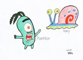 Gary and Plankton by ValerieGalvez