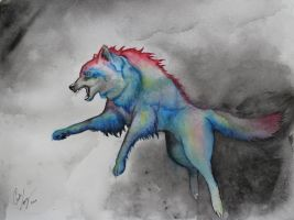 Watercolor Wolf by RougeCerberus