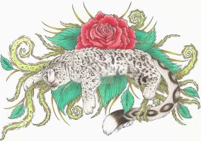 Rose Snow Leopard Tattoo by RazorCookie