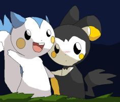Pachirisu and Emolga at night by Tegechu