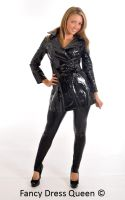 Black Fetish PVC Coat and Wet Look Leggings by fancydressqueen
