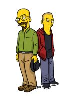 Simpsonized Walter White and Jesse Pinkman by ADN-z