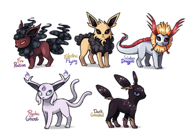 Alolan Eeveelutions by Wolframclaws
