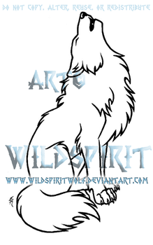 Sitting Howling Wolf Lineart by WildSpiritWolf
