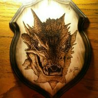 The Dragon Smaug - wood burning by ckatt01