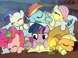 WIP: A Quiet Night in Ponyville by drawponies