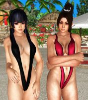 Mai and Nyo in V swimsuit by Toshiie1