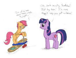 Day 8 - Scootaloo Tries a New Approach by TopGull