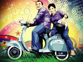 Vector Cartoon Couple and Vespa Scooter by ndop