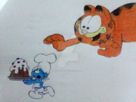 Greedy and Garfield by maskedsmurf