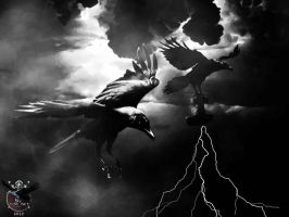 Huginn and Muninn with Mjolnir by thecasperart