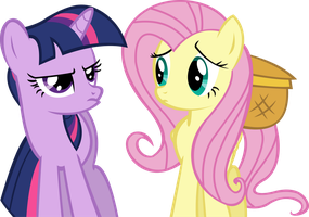 Twilight Sparkle and Fluttershy Vector - Unamused by CyanLightning