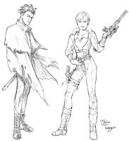Sword Boy and Gun Girl by staino