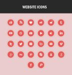 Red/Pink beautiful icons set for your website by themajiks