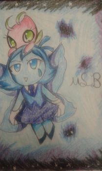 Celebi and  aquamarine flying in space by maysonicboom