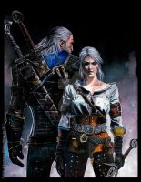 Ciri and Geralt by Hollow-Moon-Art