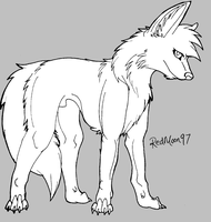 Male Wolf Lineart MS by RedMoon97