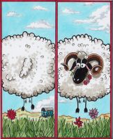 stucking sheep bookmark by spoon-kn