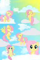 Fluttershy Cloud iPod Wallpaper by daughterdragon
