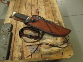 Dundee Style Bowie Knife and Sheath 2 by HellfireForge