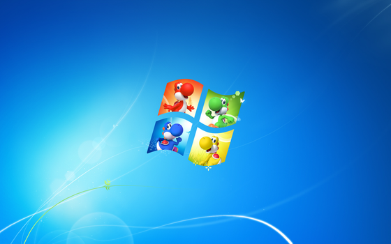 Default Windows 7 wallpaper w/ Yoshis by smwforever45