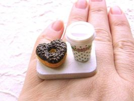 Heart Shaped Donut And Coffee by souzoucreations