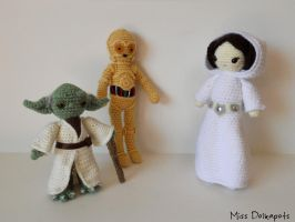 Leia, Yoda and C-3PO by missdolkapots