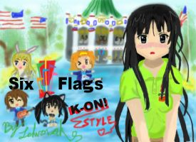 Mio and Hokago Tea Time at Six Flags by Lehvorak