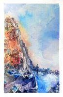 Cinque Terre Watercolor Painting by minifong