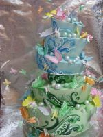 Butterfly Wedding Cake by forgetmmenot