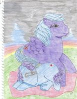 mom and baby MLP at twilight by Mean-cat