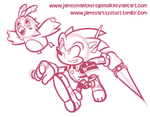 Commission - HUmar Sonic and Rappy by JamesmanTheRegenold