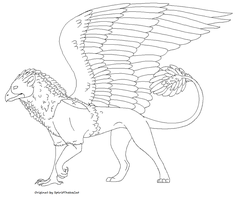Griffin lineart-Male by SpiritTheIceCat