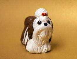 Brown and white Shih Tzu dog sculpture by SculpyPups