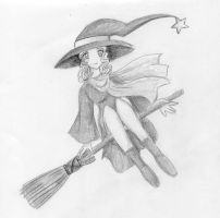 Cute lil Witch on a Broom by dg-sama