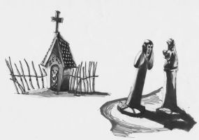 Zero's house and statues by Spookyspoots