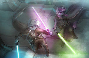 Jedi Masters Trixie and Twilight by FoxInShadow