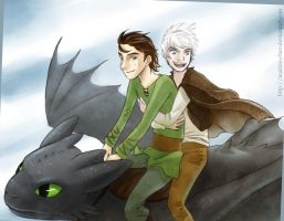 Flight - Hiccup and Jack by Mahogany-Fay