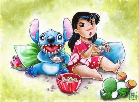 Lilo and Stitch playing video games, commission by clefchan