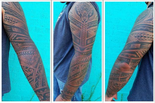 Tribal sleeve tattooed by shepush