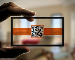 Creative Transparent Business Cards With QR Code by quickmedia