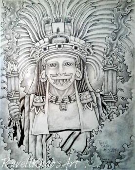 Priest of the New Fire .  .  . ( Teotihuacan ) by RuvellKhaosArt