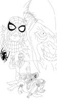 The spider and the goblin (black and white) by Dennyboy87
