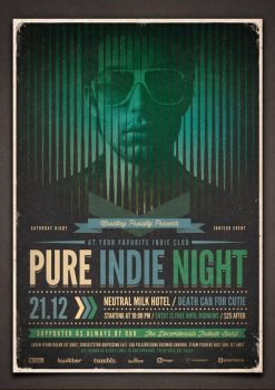 Pure Indie Night Flyer ( Hi-Res PSD ) by moodboy