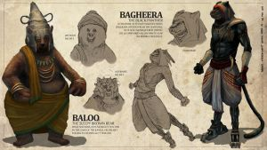 The Jungle Book - Baloo + Bagheera by freakyfir