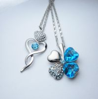 Blue Swarovski Necklaces by LypticDesigns